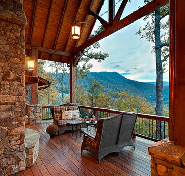 Outdoor living in mountain rustic residence. Design by ACM Design.