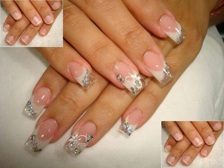 Elegant Bridal Nail Design Clear Tips Sparkles Bling