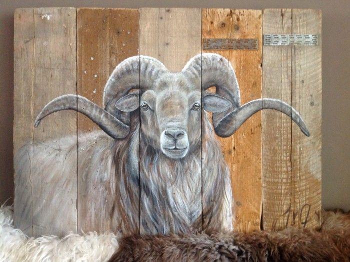 Drents heideschaap geschilderd door Janneke van Genugten