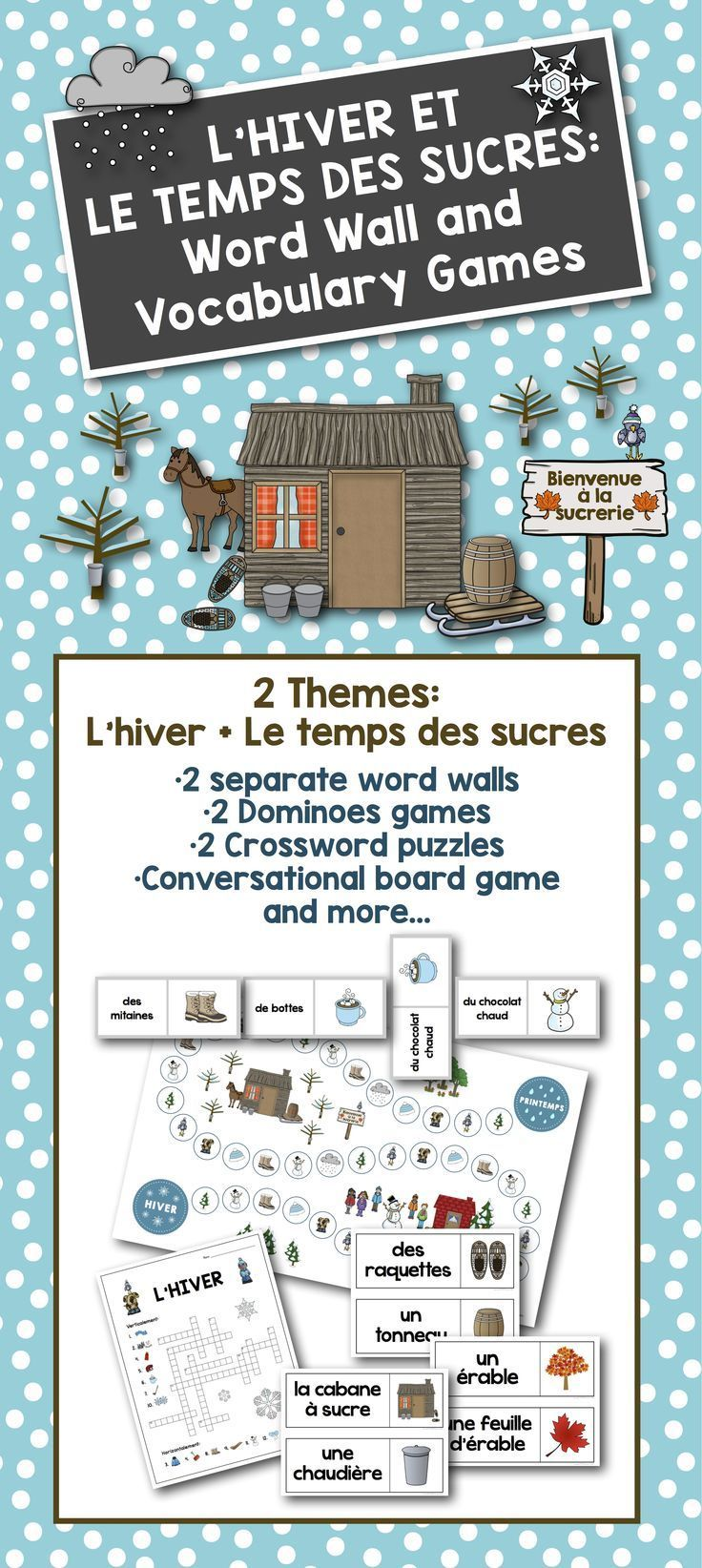 French Winter Sugaring f Word Wall and Vocabulary Games