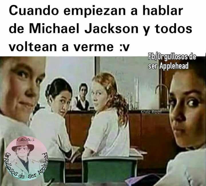 Una vez me paso a mi!Anécdota:Estábamos en clase de historia y el Profe empezó a decir algo de un señor y que lo juzgaron por su cambio así como Michael Jackson! Y todo el salón: