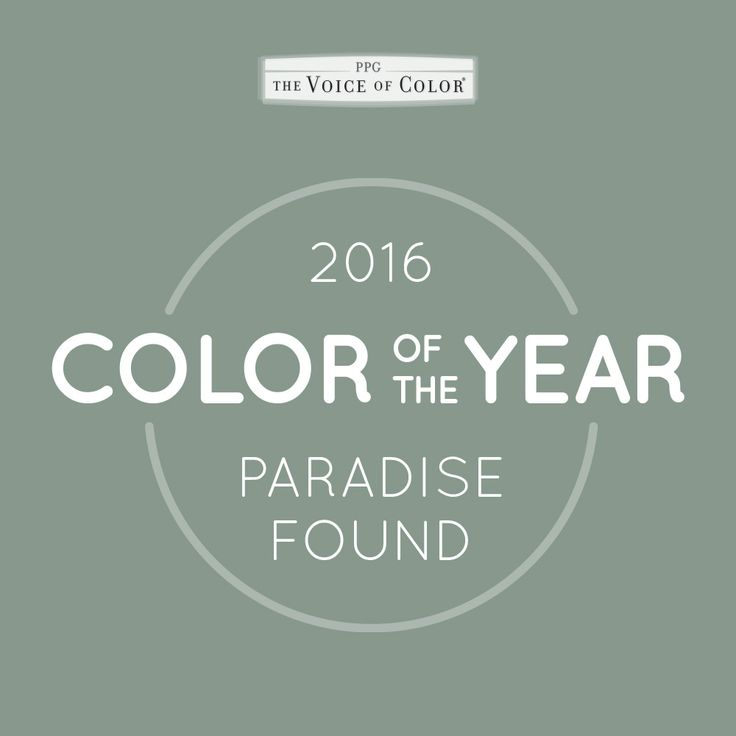The PPG Voice of Color®, 2016 Paint Color of the Year, Paradise Found is an is an organic, aloe green with an undertone of blue that offers at once a subtle but serious sense of ease and rejuvenation. It is a steadfast, impenetrable color that fills today's consumers need for sturdy reassurance against the growing threats to global, national and cyber security.
