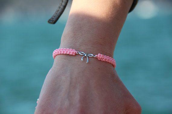 Silver Bow Macrame Bracelet Adjustable Bracelet by GozdyJewelry