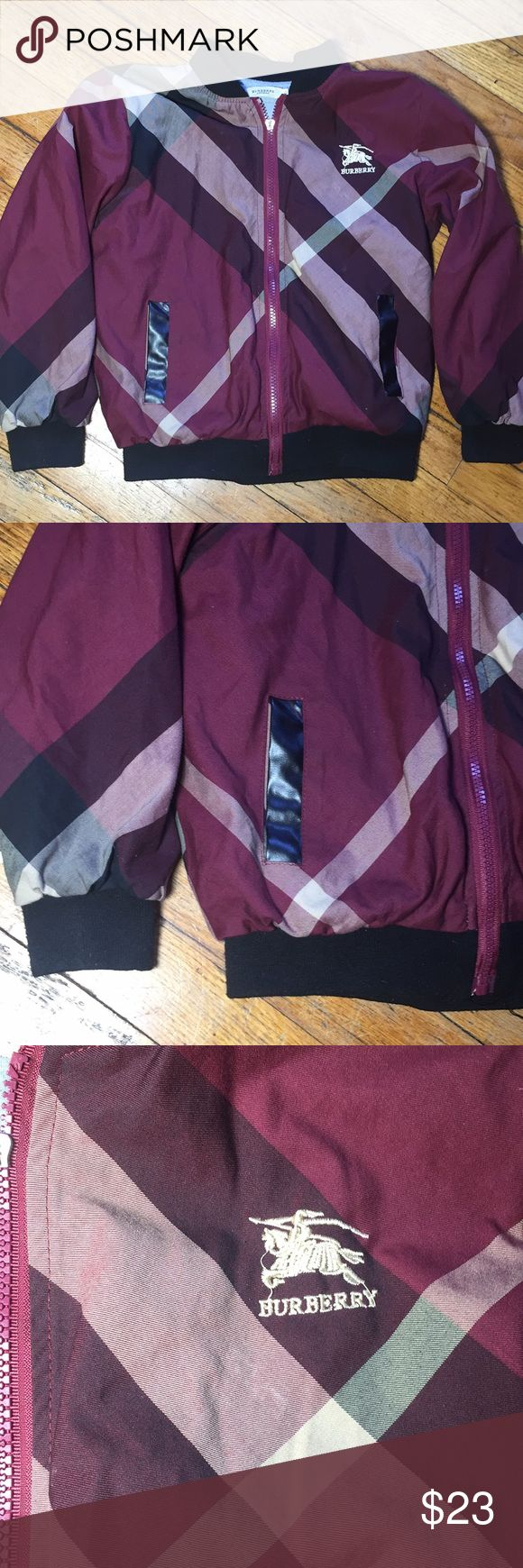Burberry bomber jacket size 6 (kids) Ok condition. Selling it for low cost since im not sure if it's authentic Color is plum Any questions just ask Burberry Jackets & Coats Puffers