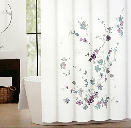 Tahari Printemps Purple Plum Gray Teal On White Cotton Blend Shower Curtain Tree Branch Tahari
