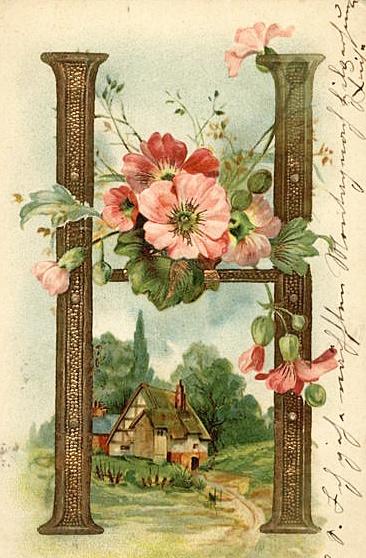 H - vintage postcard