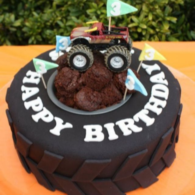 Monster truck cake  looks like I might just have to try fondant