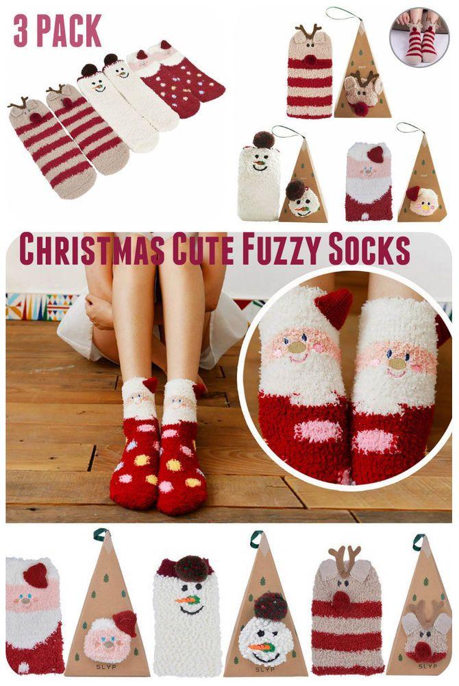ec180ea2e30 Christmas Socks Funny Cute Fuzzy Socks Colorful Girl   Women Winter Socks 3  Pack  Outgeek  CustomStyle