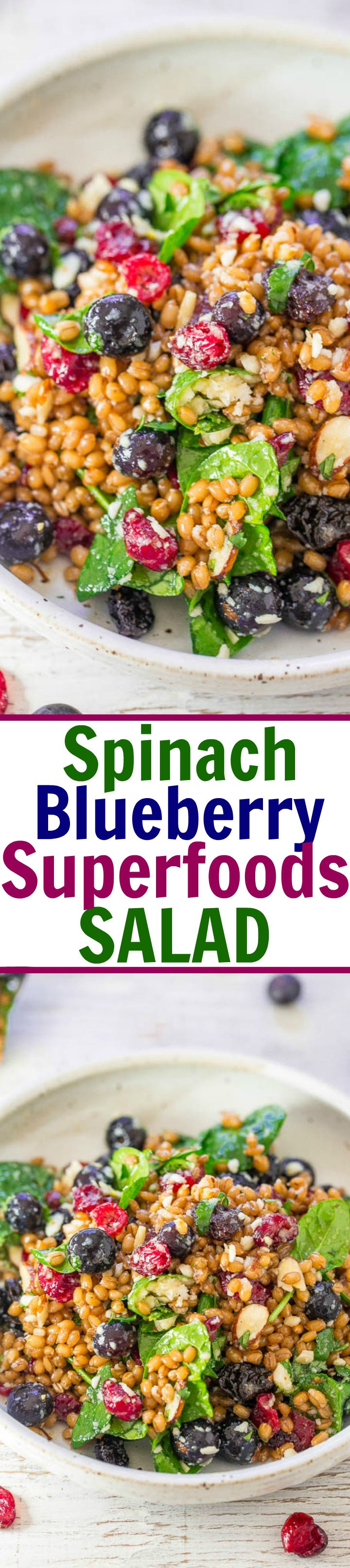 Averie Cooks Spinach Blueberry Superfoods Salad - Averie Cooks
