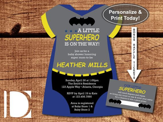 Superhero Baby Shower Invitation, Batman-Themed by DeReimer DeSign for only $8.95