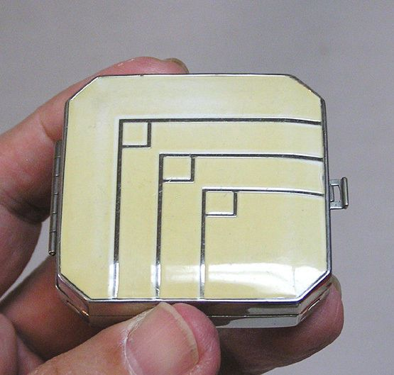 Vintage Art Deco Signed Dhaussey - Paris Compact Cream Enamel and Silver