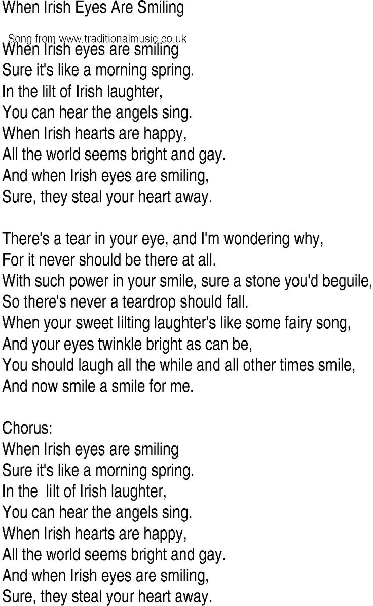 Irish eyes are smiling lyrics