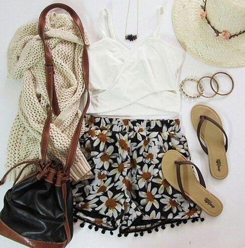 Comfy summer clothes. Loose shorts, sandals, soft cardigan, and comfy tank.