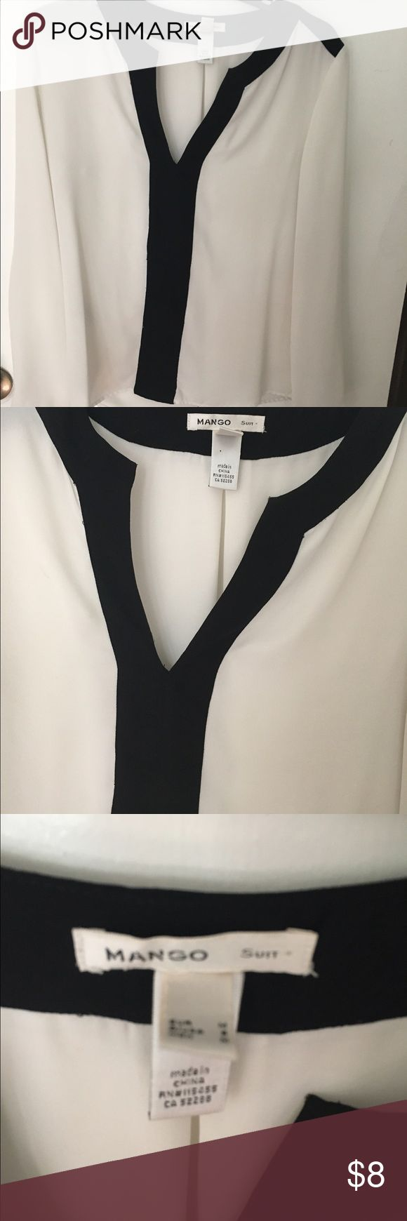 Mango suit white top White and black long sleeve top Mango Tops Blouses