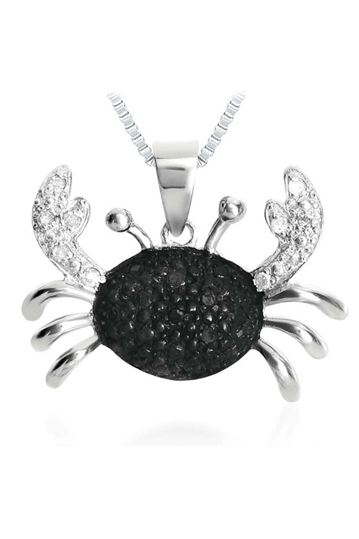 Black & White Diamond Crab Pendant