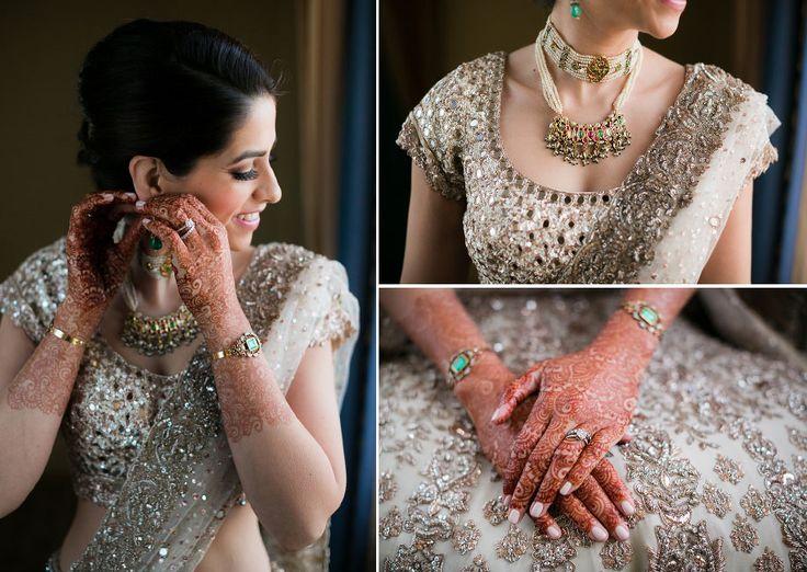 A pearl choker and vintage bracelets with hints of green for Rasheeda of WeddingSutra. Photos Courtesy- Lin and Jisra Photography