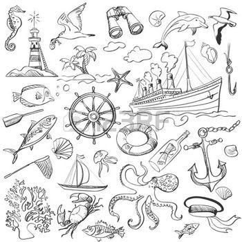Hand gezeichnete Elemente des Meeres-Themenpark mit einem Leuchtturm, Schiffe, Segelboote, Anker, Ruder, Rad und Flasche mit einer Nachricht photo