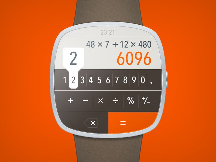 Сoncept of simple calculator for iWatch. Don't forget to check @2x)