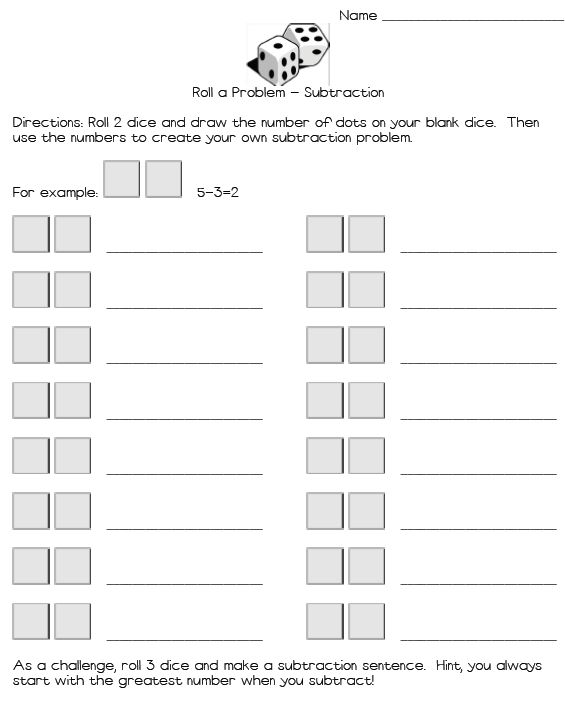 dice addition and subtraction worksheet free math dice. Black Bedroom Furniture Sets. Home Design Ideas