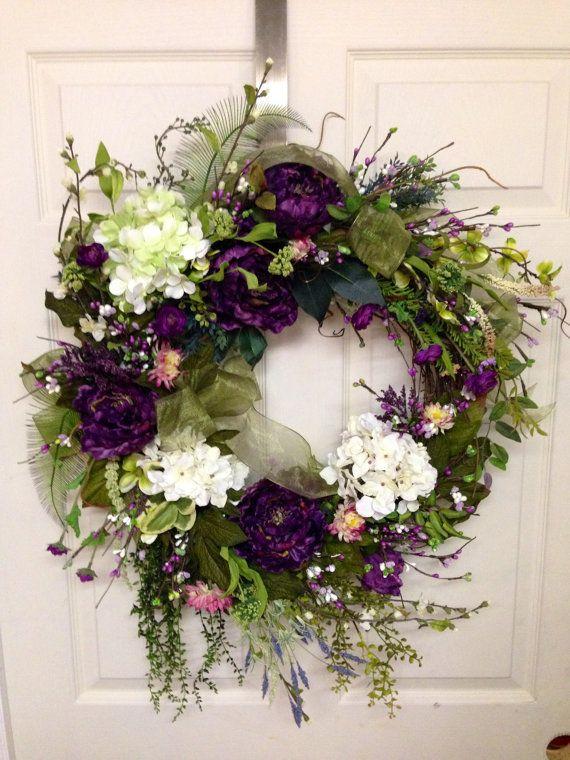 Spring Wreath Summer Wreath Wedding Shower Wreath by SterlingDecor, $65.00
