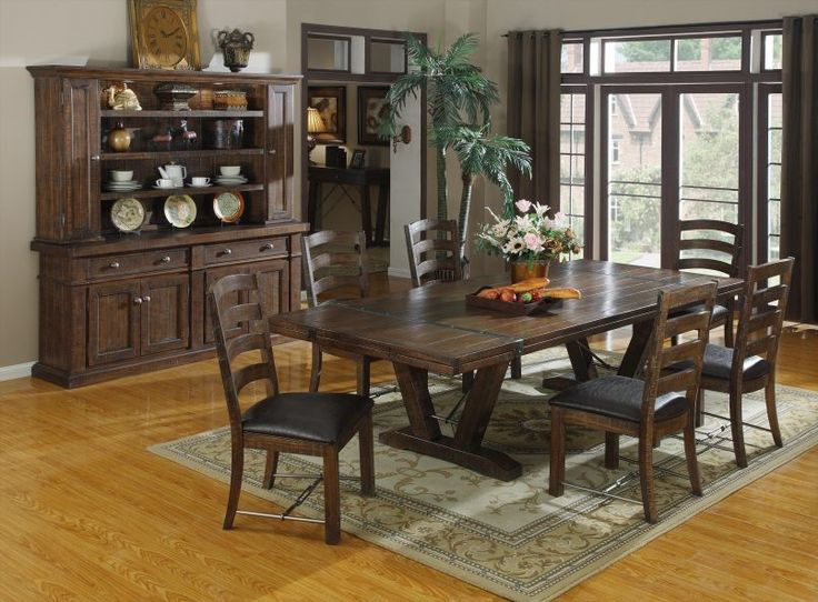 Dining Room Wooden Dining Set Flower Pot White Roses Bread Tray Green Plant Glass Window Curtain Curio Cabinet Teaset Plate Clock Painting Desk Lamp Carpet Some Tips to Arrange Dining Room Furniture