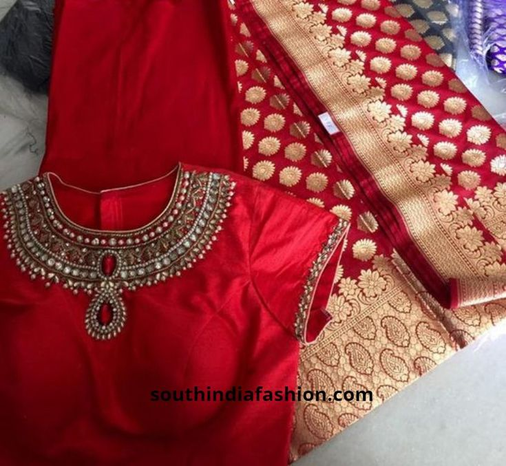 pattu saree blouse designs1 600x552 photo