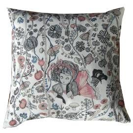 ,, Snill pike,, Sweet pillow  & cushion. Rose and gray are very fashion today. Back side is 100% natural linen. Print i Sweden, sewing i Norge. Eco ink. design Anna Strøm ,, design of Norway,, 54 Euro http://www.design-of-norway.no/