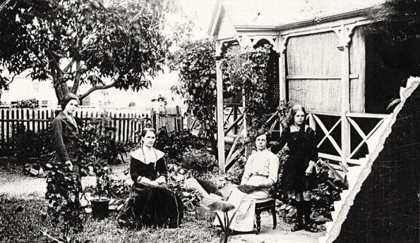 Phyllis, Agnes & Flossie Lovelock and Mary Cheffin at their house in Herbert Street, Bowen Qld - Photo courtesy of Bowen Historical Society