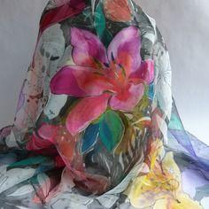 "Foulard écharpe en mousseline de soie peint main fleuri "" lady alice """