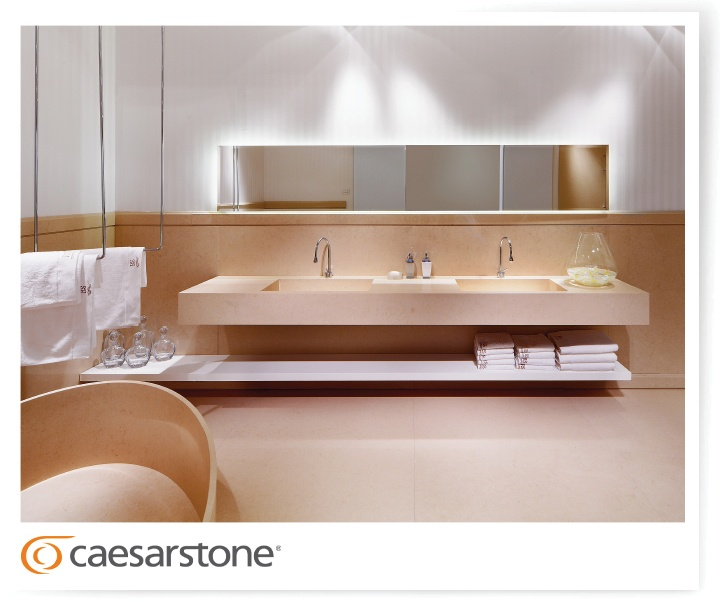 Caesarstone Made Bathroom Vanities Backsplashes Wall Cladding Bathtub And Flooring