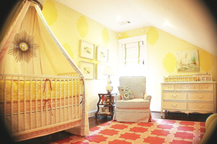 Baby Girl Nursery: Coral Nurseries, Yellow Wall, Pink Lemon, Coral Rug, Baby Girls, Baby Rooms, Girls Nurseries, Yellow Nurseries, Girls Rooms