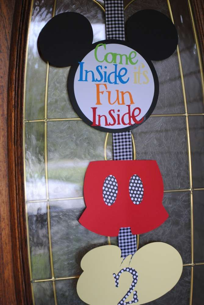 Mickey Mouse Birthday Party sign! See more party planning ideas at CatchMyParty.com!