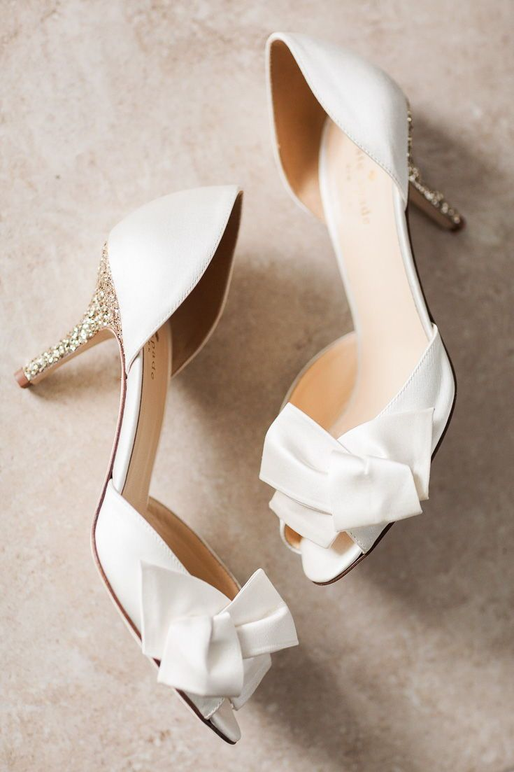 Sparkly Gold Heel Wedge Peep Toe White Wedding Shoes With Bow