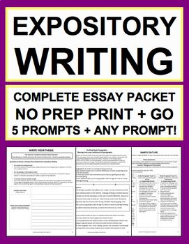 Expository Essay Writing Complete No Prep Packet: Teaching Expository Writing is now effortless!  This 12-day unit packet has everything you need to teach expository essay writing from start to finish! Use again and again for 5 included topics or any expository writing prompt! Perfect expository writing activities or expository writing prompts for English or Social Studies. This packet's 28 easy-to-follow pages has instructions, exemplars, graphic organizers, editing checklists, grading…