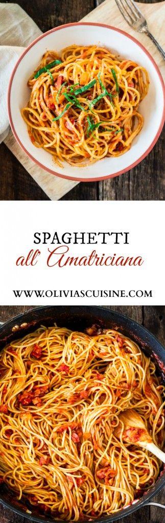 Spaghetti all' Amatriciana | www.oliviascuisine.com | A super easy yet delicious spicy pasta dish featuring diced pancetta, red pepper flakes, basil and Bertolli Riserva Marinara with Parmigiano-Reggiano. #sponsored