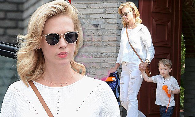 January Jones heads to Memorial Day event with her son Xander