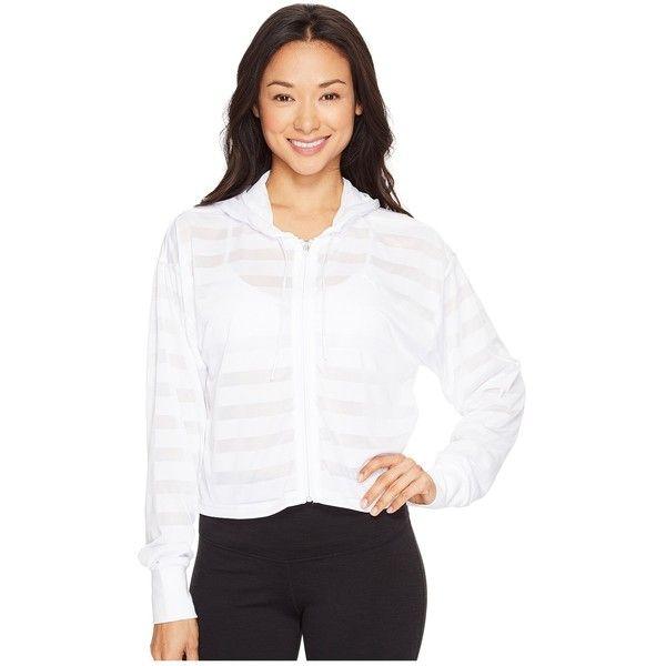 PUMA Burnout Full Zip Hoodie (PUMA White) Women's Sweatshirt ($40) ❤ liked on Polyvore featuring tops, hoodies, white crop top, full zip hoodies, white hoodies, hooded pullover and full zip hooded sweatshirt