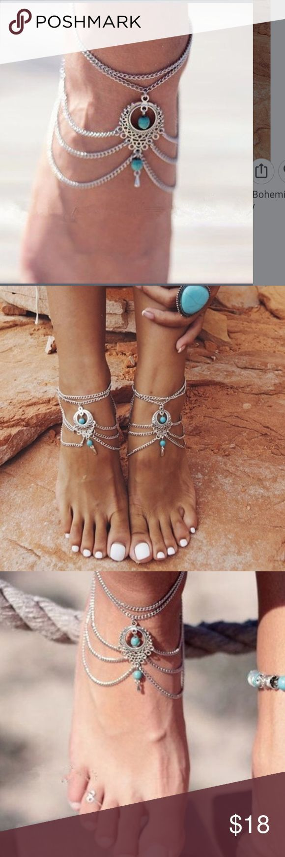 anklet anklets ankle beaded silver band turquoise pin bracelets bracelet beach arm surfer friendship bridesmaid grey and stacking stretch boho