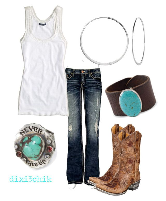 """Boots"" by dixi3chik ❤ liked on Polyvore featuring BKE, American Eagle Outfitters, Banana Republic, Old Gringo, cowboy boots, turquoise jewelry and jeans"