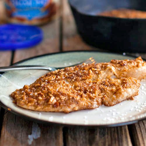 Almond Crusted Tilapia (Made a  version of this tilapia tonight to use the almond meal leftover from the almond milk I make. Seasoned the almond meal with salt & garlic pepper & pressed it into the Dijon-coated tilapia. Very good, & I'll make it again. - K.)