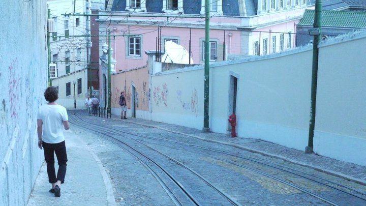 lisbon tram tracks.