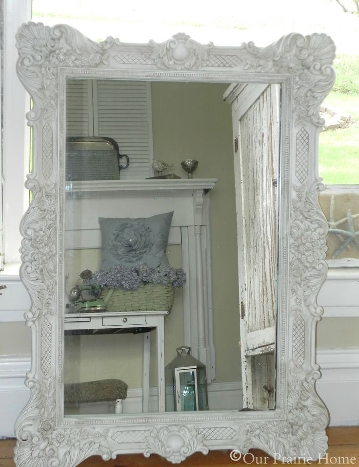 Antiqued White Mirror {Tutorial}   Our Prairie Home