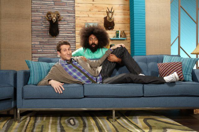 Still of Scott Aukerman and Reggie Watts in Comedy Bang! Bang!
