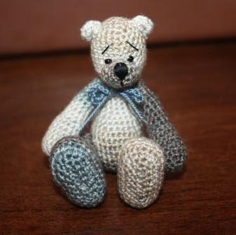 Meet Smokey Joe a miniature crocheted bear by AfricanDaisyCrochet, $30.00 SOLD