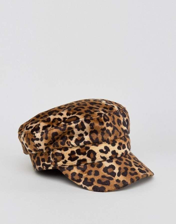 Sacred Hawk Baker Boy Cap In Leopard Print