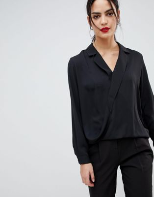 32439f5098eb1 DESIGN long sleeve wrap top with collar detail | 内搭 | Long sleeve ...