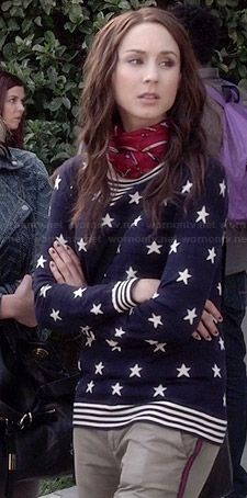 Spencer's blue star print sweater on Pretty Little Liars.  Outfit Details: http://wornontv.net/34605/ #PLL
