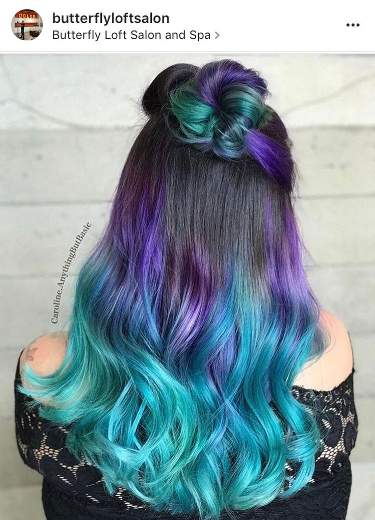 Brown hair with purple to turquoise ombre ends