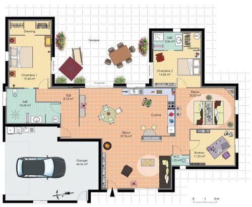 plan maison plain pied fonctionnelle