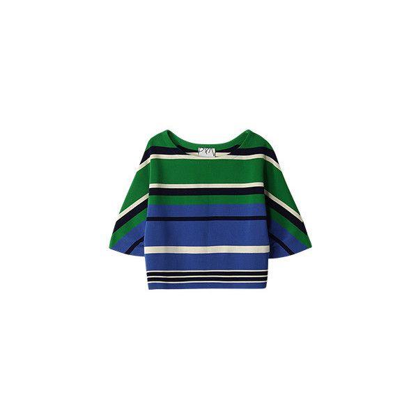 【ELLE SHOP】マルチボーダートップスブルー プランピーナッツ(Plumpynuts) ファッション通販 エル・ショップ ($275) ❤ liked on Polyvore
